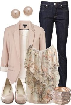 LOLO Moda: Chic women's fashion styles. Blush blazer, dark jeans, feminine top.