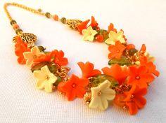 #Orange jewelry  #Flower #necklace  Spring jewelry  by insoujewelry