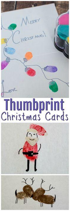 Thumbprint Christmas Cards | Holiday Cards | DIY Christmas Cards | Kids Christmas Crafts | Homemade Cards | DIY Thumbprint Reindeer | Thumbprint Christmas Lights | Thumbprint Santa Cards