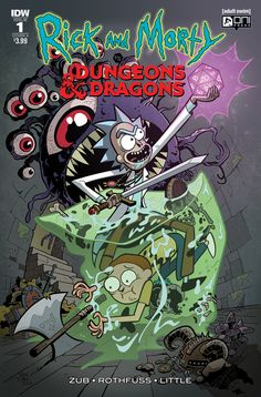Rick and Morty meet Dungeons and Dragons in comics. Stories by Patrick Rothfuss and Jim Zub. Art by Troy Little. Dungeons And Dragons, Dungeon, Iphone Wallpaper, Wallpaper, Art, Anime, Cartoon Wallpaper, Rick And Morty Poster, Cartoon Art