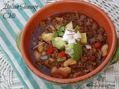 Italian Sausage Chili made with Johnsonville All Natural Italian Sausage.  #allstarsJville