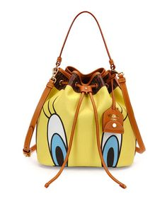 Shop designer handbags, wallets, and clutches at Neiman Marcus. Add a new one of these luxury handbags to your collection. Tweety, Looney Toons, Yellow Shoulder Bags, Studded Handbags, Yellow Purses, Cheap Bags, Knitted Bags, Leather Handle, Shoulder Handbags