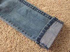 How to hem blue jeans using the ORIGINAL hem...fabulous for shorties like me  :)