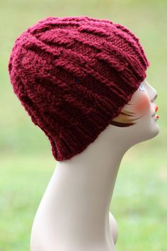 """Austrian Block Hat.  This hat rocks a nice texture and knits up quickly in bulky weight yarn. To make it, you'll need roughly 120 yards of your fiber and two 16"""" circular needles, one in size US 9 & one in size US 10. Also, a set of dpns in size 10!"""