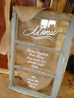 Glass Window Menu - Pursuing Eden Vintage Sales & Rentals http://pursuingeden.com