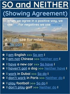 Showing agreement so/neither Advanced English Grammar, English Grammar Rules, Learn English Grammar, English Language Learning, English Vocabulary Words, English Prepositions, English Verbs, English Sentences, English Phrases