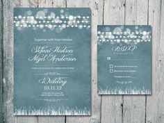 Romantic Garland Wedding Invitation and Reply Card Set -3 colors set - Wedding Stationery. $1,35, via Etsy.