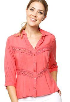 Camisa Coral, Shirt Blouses, Shirts, Coral Orange, Shirtdress, Blouse Styles, Peach, Tunic Tops, Casual