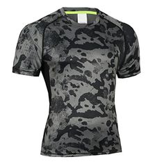 Bwiv Men's Compression Base Layer Short Sleeve Camouflage Shirt Quick Drying Jogging Top