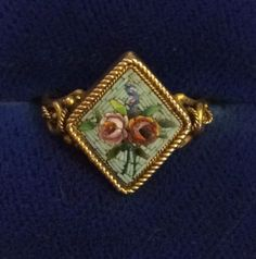 Beautiful Antique Victorian 18ct Gold Mini Mosaic Ring Approx L 1-2