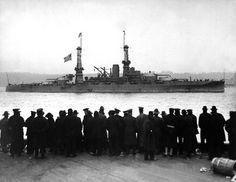 The USS Arizona BB-39 returns to New York after escorting Woodrow Wilson to the Paris Peace Conference, in 1918.