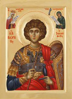 Άγιος Γεώργιος / Saint George Byzantine Icons, Byzantine Art, Religious Icons, Religious Art, Faith Of Our Fathers, Romanesque Art, Roman Church, Art Carved, Archangel Michael