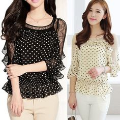 Fashion Ladies Lace Round collar Shirt Tee Chiffon Dot Pattern Top Blouse #Unbranded #Blouse #Casual
