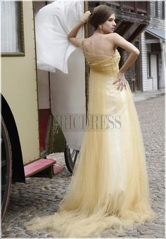Noble A-line Empire One-shoulder Beading Floor-length Evening Pageant Dress