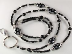 Beaded Lanyard DANCING DOTS Glass ID Badge Holder by curlynetto, $19.99