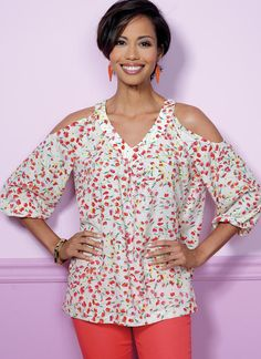 Butterick tops sewing pattern with sleeve and neckline variations. B6457 Misses' V-Neck or Scoopneck, Cold-Shoulder Tops