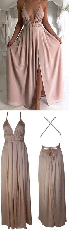 Blush Pink prom dresses,Sexy Prom dress,Backless prom dress,Plunge V Neck evening gowns,Slit prom dress,long prom dress,Criss cross straps prom dress