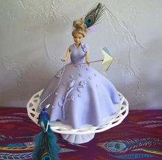Peacock Party for Brides, Grads or Birthday Babes - Classic Doll Cake with a Peacock twist.