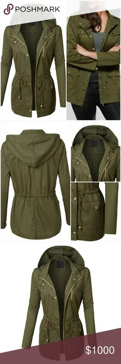 •Arrives 10/14• Plus Size Olive Utility Jacket • Like this listing and comment below to be notified when this arrives.  Price:$45  Take over in this plus size utility anorak jacket featuring a drawstring waist and front pockets. It is a must have for a fashion forward outfit! Pair it with a favorite basic t-shirt and legging pants for casual trendy look. 100% Cotton AJ's Threads Jackets & Coats Utility Jackets