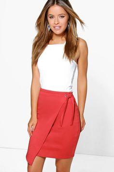 Red Wrap Skirt | Dresscab