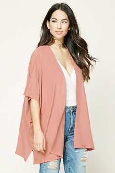 Style Deals - A faux suede cardigan featuring an open front, 3/4 dolman sleeves, and side slits.