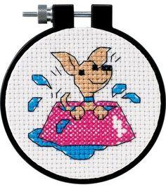Dimensions Learn-A-Craft Perky Puppy Cntd 3x3 X-Stitch Kit, , hi-res