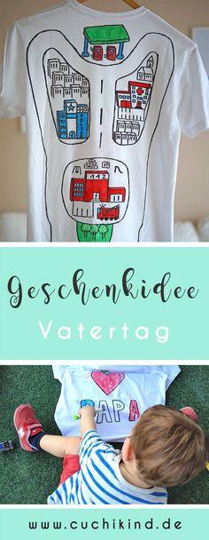 Schöne DIY-Idee zum Vatertag: Autostraße auf T-Shirt malen