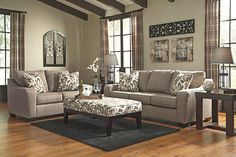 Gray Arietta Loveseat by Ashley HomeStore, Polyester (100 %)