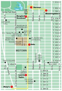 New York City Walking Map | walking tour map to see the holiday window displays at New York City ...
