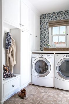 Save space with this laundry room and mudroom combo