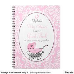 Vintage Pink Damask Baby Shower Guest Book- Note Book