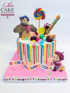 Masha and The Bear Baby Drip Cake