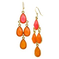 Dangle Earrings - Gold/Coral | Target