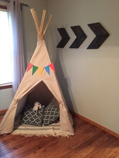 In a recent trip to Hobby Lobby, my little guy spied a teepee and became infatuated with it. He really wanted one but there were two problems... It was pink polka dots (he didn't care for the pink)...