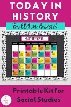 History Bulletin Boards, Calendar Bulletin Boards, Classroom Calendar, Classroom Bulletin Boards, Kids Calendar, Classroom Décor, Spanish Classroom, Future Classroom, Social Studies Classroom