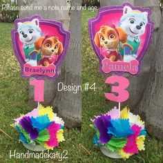 CAUTION - THIS IS NOT A TOY IS A DECORATIVE ITEM. Do not stop at reach of children, always under supervision of an adult Maybe some items can be removed. Skye and Everest centerpiece for decoration for your party. YOU CHOOSE shield or number or number and character. NOTES PLEASE The Birthday Party At Park, 6th Birthday Parties, 2nd Birthday, Paw Patrol Birthday, Paw Patrol Party, Sky Paw Patrol, Baby Party, Party Centerpieces, Goodie Bags