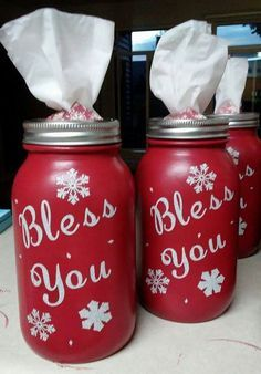 "These cute Bless You jars were made by Vikki Westmoreland! What a clever gift idea for Christmas/winter time! Here's her tutorial… "" I start with Kerr jars, because they have a smooth back. Then two layers of matte acrylic paint (Folk Art) Then I cut the vinyl with my Cricut and apply it to the jar. …"
