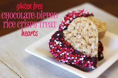 guest post...gluten free chocolate-dipped rice crispy treat hearts - Sarah Bakes Gluten Free