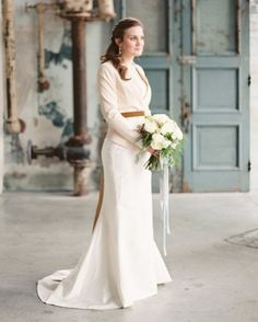This bride styled a nude blazer from TopShop with a milk-chocolate-covered velvet sash from ShyMyrtle to complete her wintry look. Check out this real wedding in South Carolina by following the link