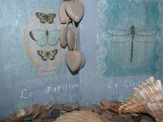 Cuadros realizados con maderas de palet, decorados con decoupage y estarcido
