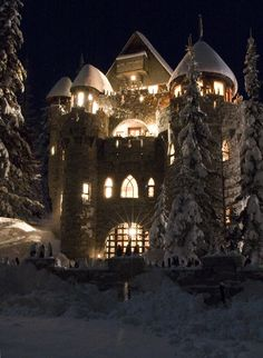 """faerypotter: """" Another photo of the Castle Magic castle in Sandpoint, Idaho. You can find them here. woman-taken-by-the-wind: """" S*N*O*W* ~ *W*H*I*T*E """" """" Beautiful Castles, Beautiful Places, Famous Castles, Castle Wall, Winter Scenes, Snow Scenes, Luxury Real Estate, Around The Worlds, Snow Castle"""