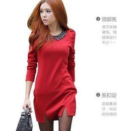 New Fashion Long Sleeve Sequins Collar Dress