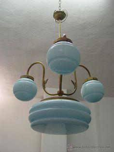 ANTIGUA LAMPARA ART DECO - DE OPALINA Y LATON - AÑOS 1930´S - FUNCIONANDO ====================== ======= VENDIDO ======= ======== SOLD ======== -