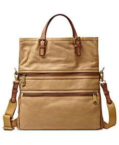 Fossil Handbag, Explorer Leather Tote - Handbags & Accessories - Macy's