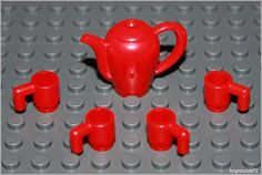 Lego Harry Potter Red Teapot & 4 Mugs Cups Food Kitchen Table Set Minifigure…