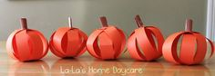 Paper Pumpkins You get these cuties from 4 strips of paper, first make a cross, then an X, glue together, then role up a strip for the stem. fun, cute.