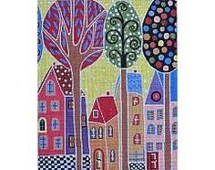 4 Houses & Trees © Karla Gerard canvas by Maggie Co. on 18ct