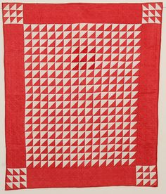 Thousand Pyramids Crib Quilt: Circa 1880 Cute Quilts, Old Quilts, Antique Quilts, Small Quilts, Vintage Quilts, Baby Quilts, Flying Geese Quilt, Two Color Quilts, Red And White Quilts