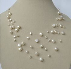 Bridal necklace pearl necklace stary pearl necklace by AnnyJewelry, $9.90