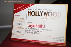 HOLLYWOOD themed baby shower invitation star is born red carpet. $2.50, via Etsy.